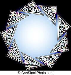 background with precious stones in the shape of a triangle