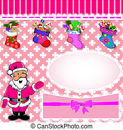 background with Santa and stockings with gifts
