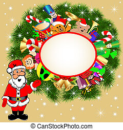 background with Santa Claus and gifts