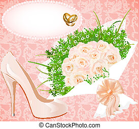 background with shoes bouquet and rings for wedding invitation