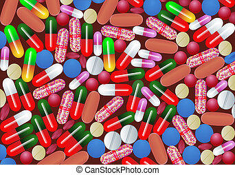 background with tablet pill and capsule medicine -...