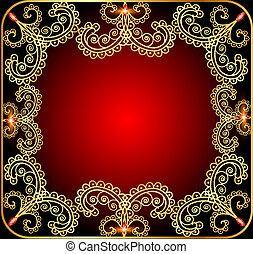 illustration background with the frame with gold ornament and precious stones
