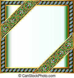 backgrounds frame with jewels and geometric designs in gold