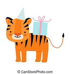 illustration, baggrund., gift., hvid tiger, appelsin, vektor