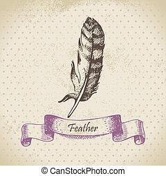 illustration, bakgrund, feather., årgång, hand, oavgjord