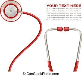 illustration., bakgrund., isolerat, realistisk, vektor, stetoskop, vit röd