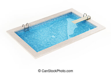 illustration, bakgrund., slå samman, vit, generisk, isolerat, simning, 3