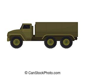 illustration, bakgrund., vektor, militär, vit, truck.