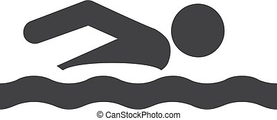 illustration, bakgrund., vektor, svart, vit, ikon, simning