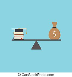 illustration., balances, argent, cout, livres, mortarboard, education, pile