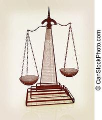 illustration., balances, vendange, justice., style., 3d