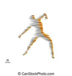 illustration., ballando., simbolo., vettore, proposta, 3d, modello, sport, man., uomo