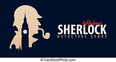 illustration., ban., detetive, holmes., grande, london., banners., 221b., sherlock, ilustração, holmes, padeiro, rua