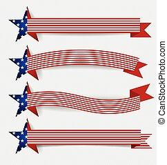 illustration., bandeira, day., americano, vetorial,...