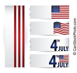 illustration., bandera, day., amerykanka, wektor, niezależność