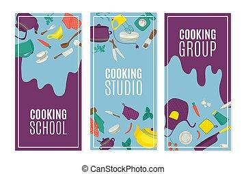 illustration., banderas, conjunto, batería de cocina, receta, especias, utensilios, cocina, vector, utensilios de la cocina, tabla, worktop., alimento