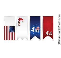 illustration., bandiera, day., americano, vettore, indipendenza