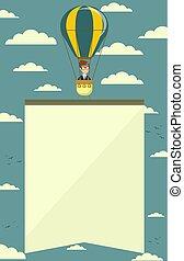 illustration., banner., balloon, air, chaud, vecteur