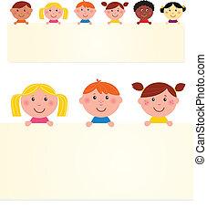 illustration., banner., seis, multicultural, vetorial, em branco, crianças