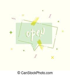 illustration., bannière, isolé, arrière-plan., vecteur, blanc, ouvert