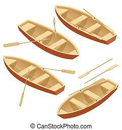 illustration., barco de madera, vector, encima, aislado, remo, set., plano, isométrico, white., paletas, 3d