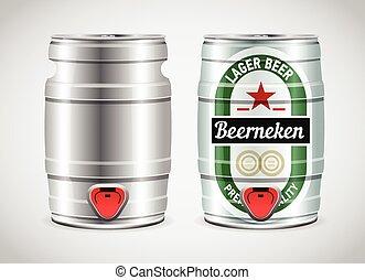 illustration., barilotto, metallo, realistico, birra, vettore