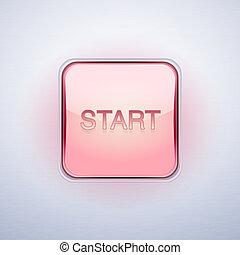 illustration., barometr, button., start, vektor, lesklý