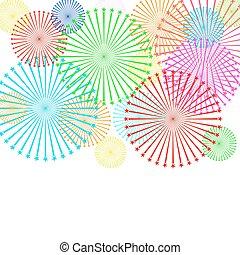 illustration., barwny, tło., wektor, biały, fajerwerk