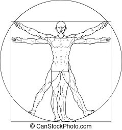 Illustration based on Leonardo da Vinci's classic Vitruvian man