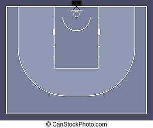 illustration, basket-ball, 3x3, tribunal, vecteur