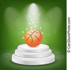 Basket Ball on White Podium with Light