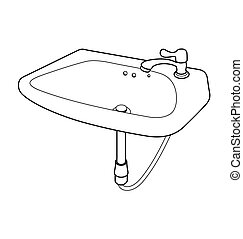 kitchen sink clipart black and white. illustration bathroom sink - vector of bathroom. kitchen clipart black and white k