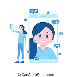 illustration., beaucoup, prendre, selfie, vecteur, vidéo, comments., girl, call., goûts
