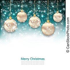 Beautiful Celebration Postcard with Christmas Golden Balls