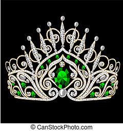 illustration beautiful diadem feminine wedding with emerald on black background