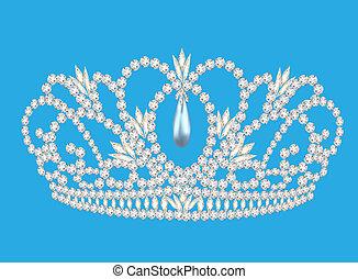beautiful diadem feminine wedding on we turn blue background