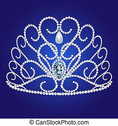 diadem feminine wedding on we turn blue background