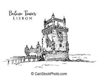illustration, belem, tour, croquis, dessin