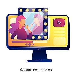 illustration., beleza, blogger, revisão, vetorial, vídeo