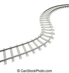 Illustration bend, turn railroad isolated on white...
