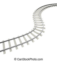 Illustration bend, turn railroad isolated on white...