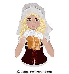 illustration, bière, dessin animé, girl, saint, ensemble, patrick, jour, vecteur