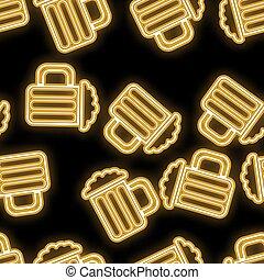 illustration, bière, vecteur, barre, espace, icônes, résumé, texture, néon, seamless, jaune, incandescent, arrière-plan., clair, métier, noir, modèle, copie, lunettes