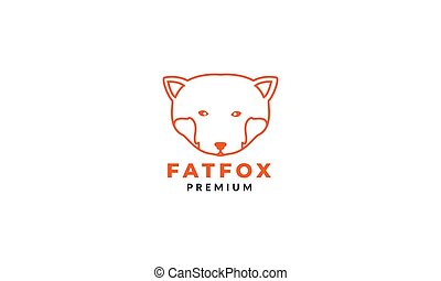 illustration big fox head line logo design