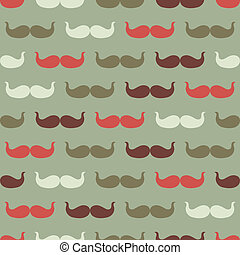 illustration., bigote, vendimia, seamless, vector, patrón