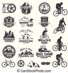 illustration., biking, vector, collection., montaña