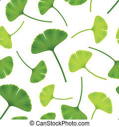 illustration., bilboa., 葉, seamless, 銀杏, ベクトル