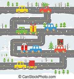 illustration., bilerne, kvæld, jul, vej, vinter