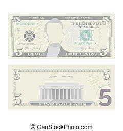 illustration., billet banque, isolé, dollars, note, currency., espèces, nous, deux, symbole, américain, 5, vector., argent, cinq, dessin animé, côtés