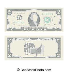 illustration., billet banque, isolé, dollars, note, currency., espèces, nous, deux, symbole, américain, 2, vector., argent, dessin animé, côtés